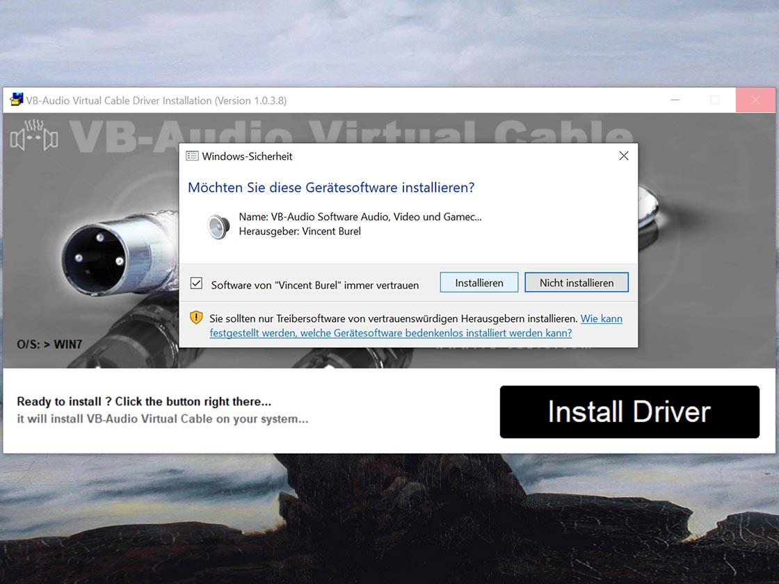 """2. Wählt """"Install Driver"""" aus, bestätigt das Pop-Up von Windows Sicherheit mit """"Zulassen"""" und startet den PC nach Abschluss der Installation neu."""