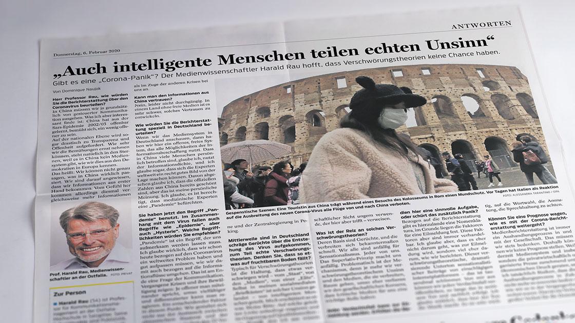 """Gibt es eine """"Corona-Panik""""? Prof. Rau im Interview mit der Braunschweiger Zeitung"""